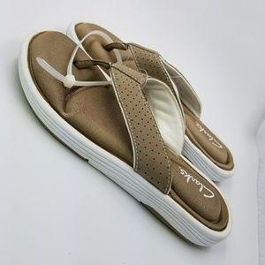 38d94bc19dbc Clarks Shoes - Clarks Olina Bronze White Flip Flops SZ 5